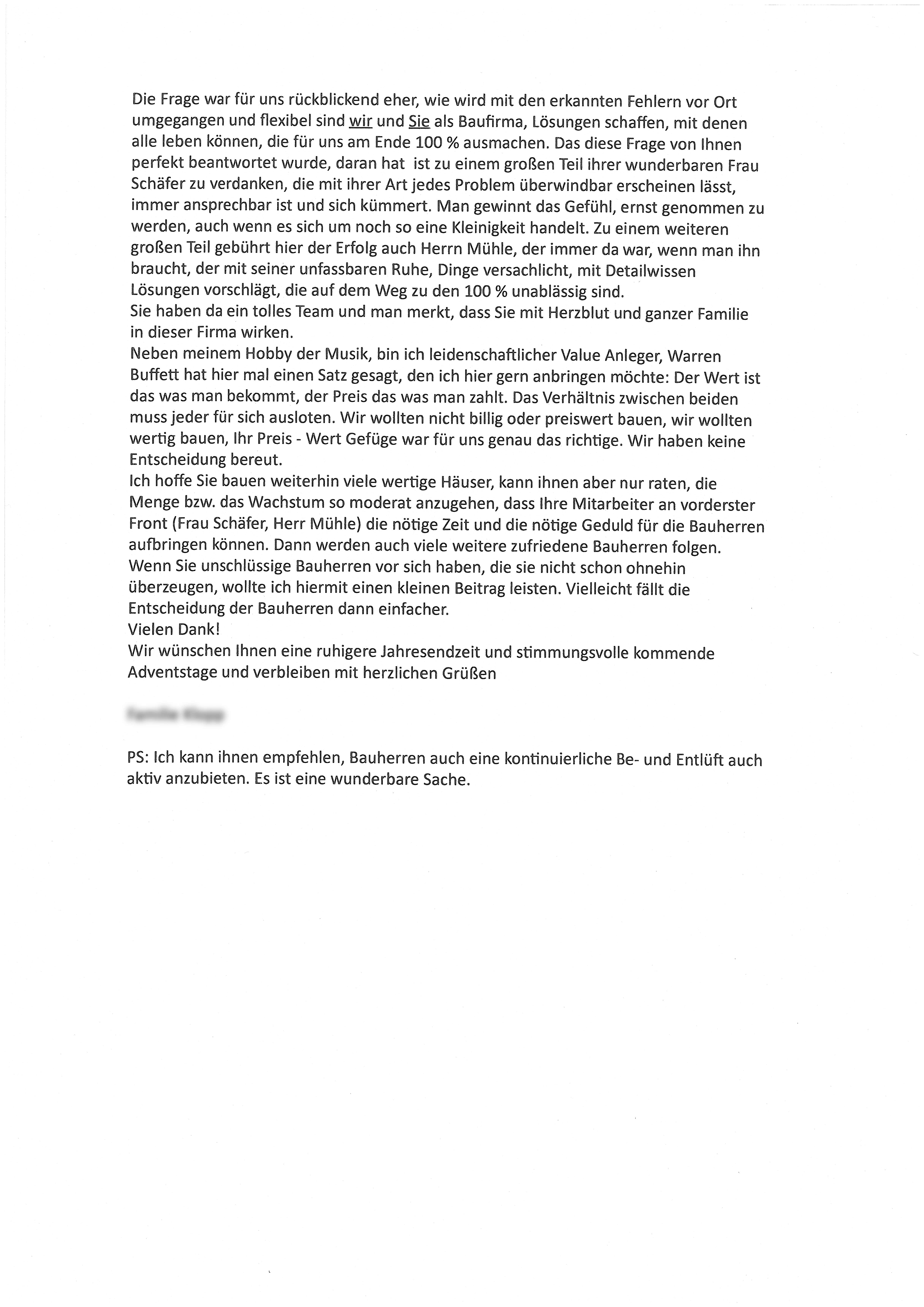 Dankesschreiben eines Bauherren aus Osterweddingen 2