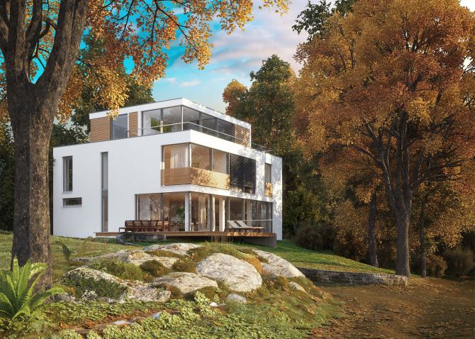 Modernes Einfamilienhaus am Waldrand